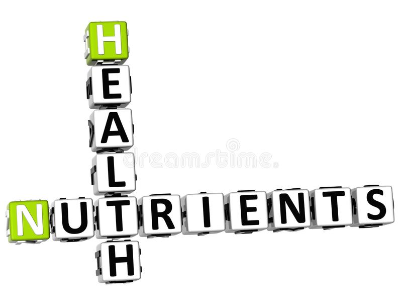 3D Health Nutrients Crossword. On white background stock illustration