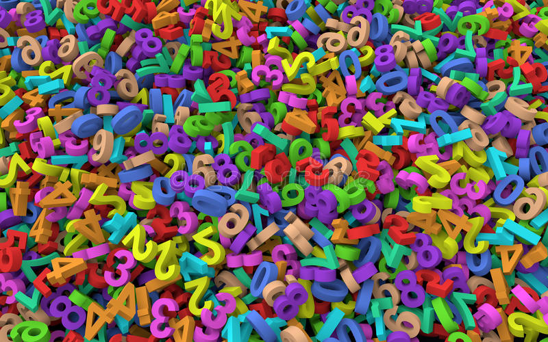 3d Heap of colorful numbers royalty free illustration