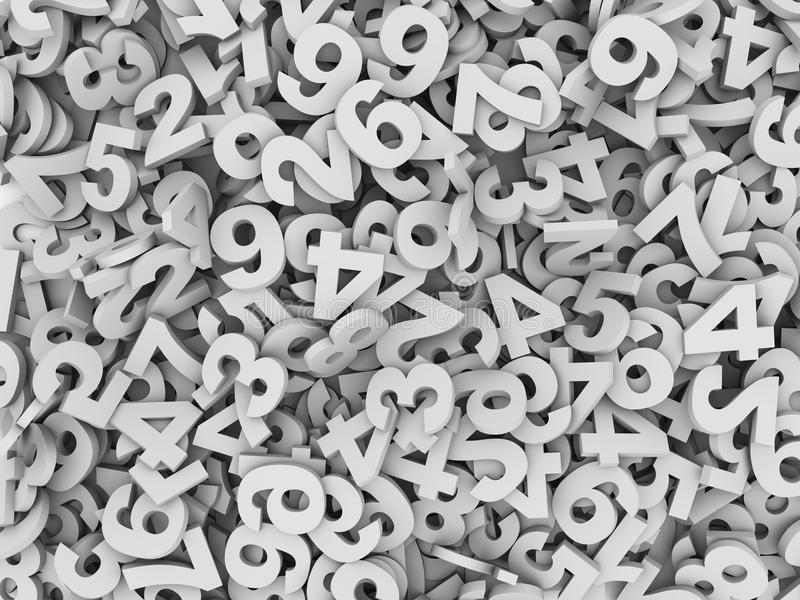 3d heap of numeric numbers. 3d illustration of heap of numeric numbers abstract background royalty free illustration
