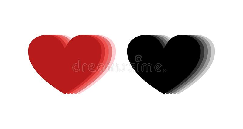 3d heart icons. Red and black hearts icons. Heart repetition vector illustration