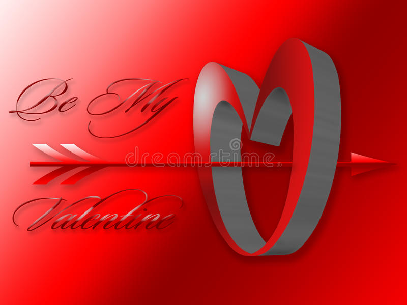 3D Heart Image Valentine with Arrow royalty free stock images