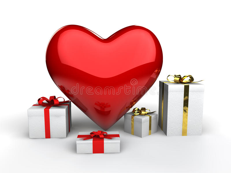 3d heart shape and gift boxes stock photo