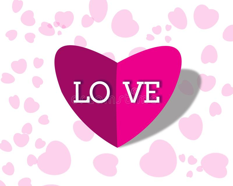 3d Heart Shape for Valentine`s Day Greeting stock images