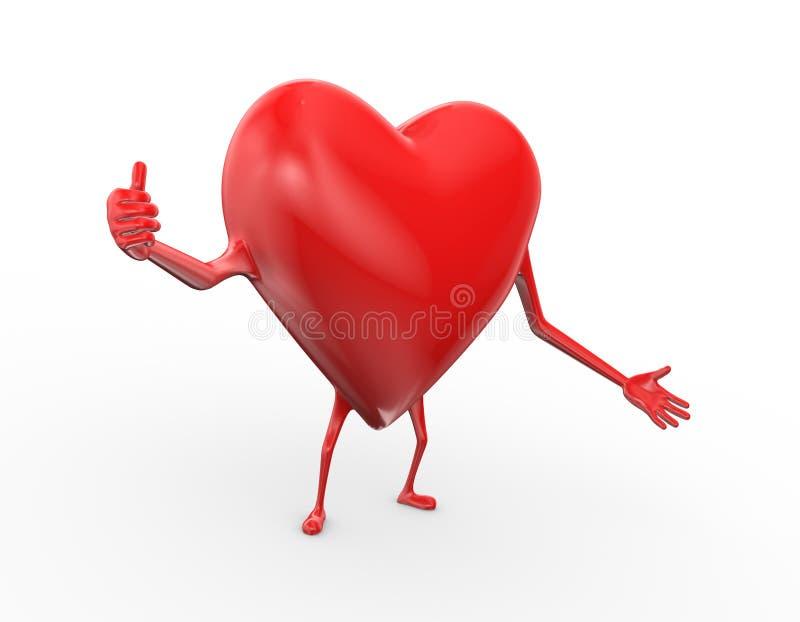 3d heart thumbsup pose gesture illustration stock illustration