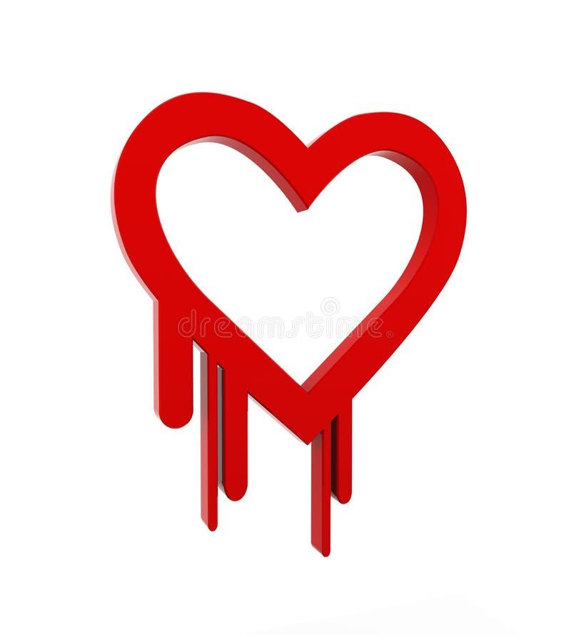 3d heartbleed openSSlsäkerhetssymbol vektor illustrationer
