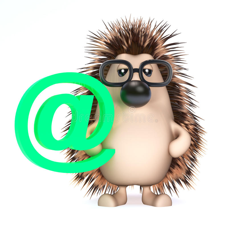 3d Hedgehog has an email address vector illustration