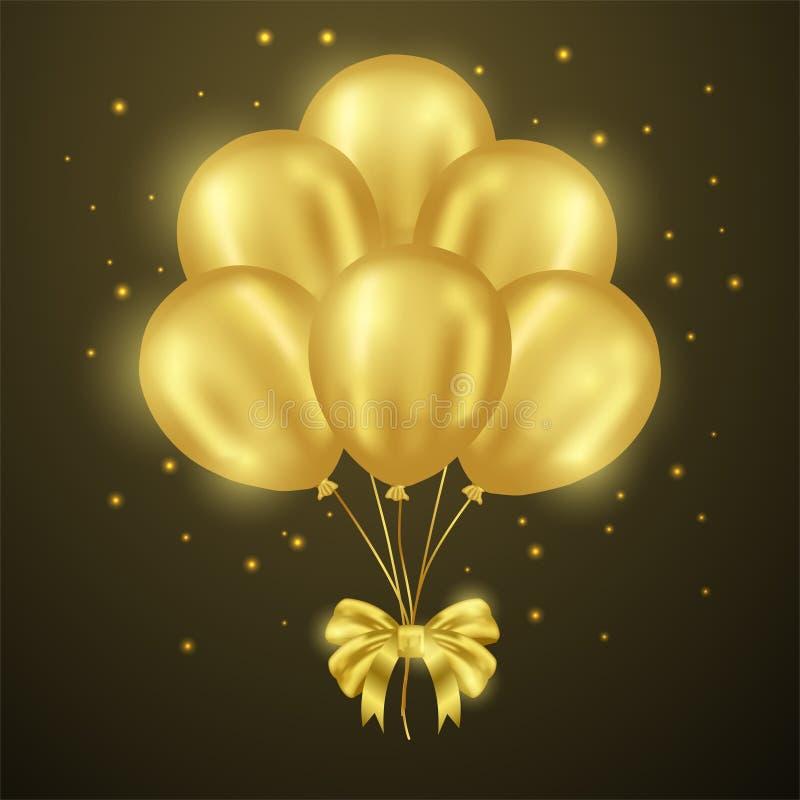 3D helu realistyczny złoty błyszczący latający balon z ciemnym tłem ilustracji