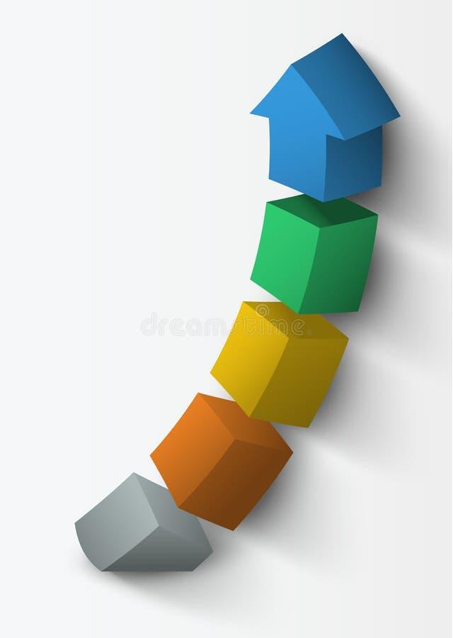 3D herauf Pfeil teilte in Teile unter stock abbildung