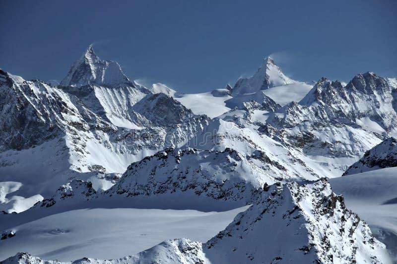 d'Herens de Matterhorn e de dente imagens de stock