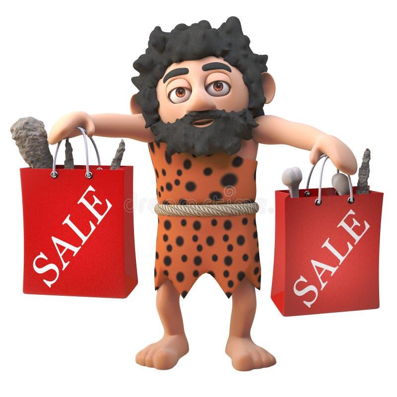 3d het beeldverhaalkarakter die van de beeldverhaal harige holbewoner met verkoop doet hoogtepunt van koopjes in zakken, 3d illus stock illustratie