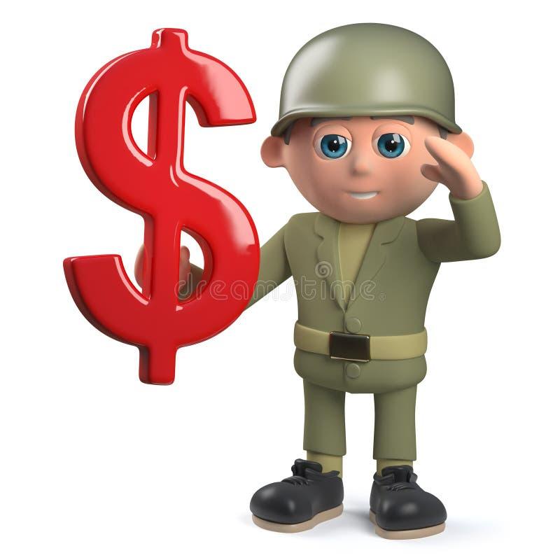 3d het beeldverhaalkarakter die van de legermilitair een Amerikaanse dollarvalutasymbool houden stock illustratie