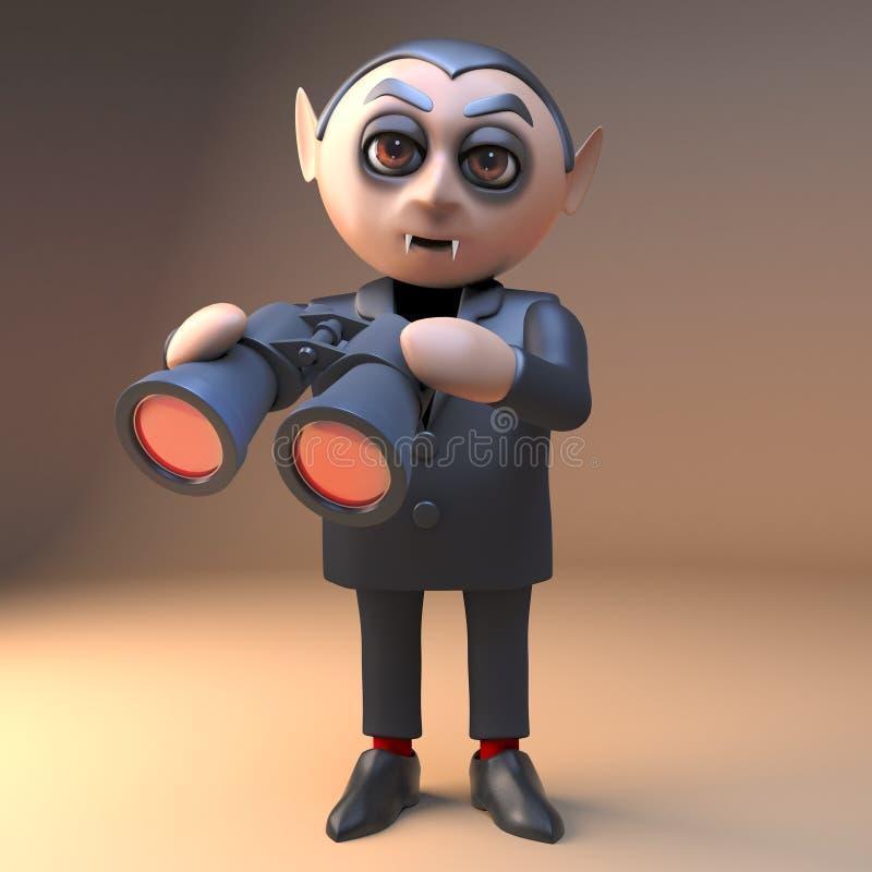 3d het beeldverhaalkarakter die van vampierdracula een paar infrarode verrekijkers gebruiken, 3d illustratie royalty-vrije illustratie