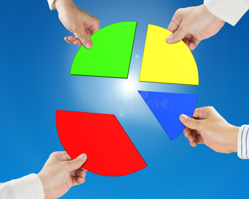 3d het cirkeldiagram van de handholding stock illustratie