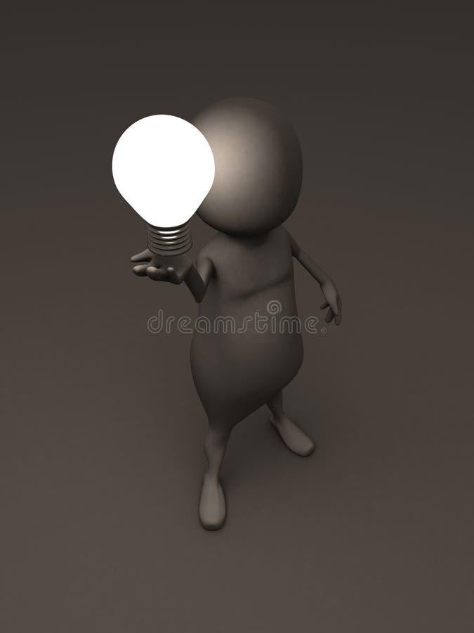 3d het conceptenidee van de mensenholding lightbulb in dark vector illustratie