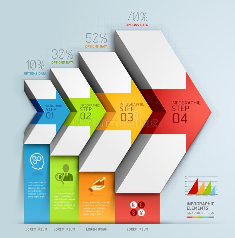 3d het diagram van de bedrijfs pijltrap opties. vector illustratie