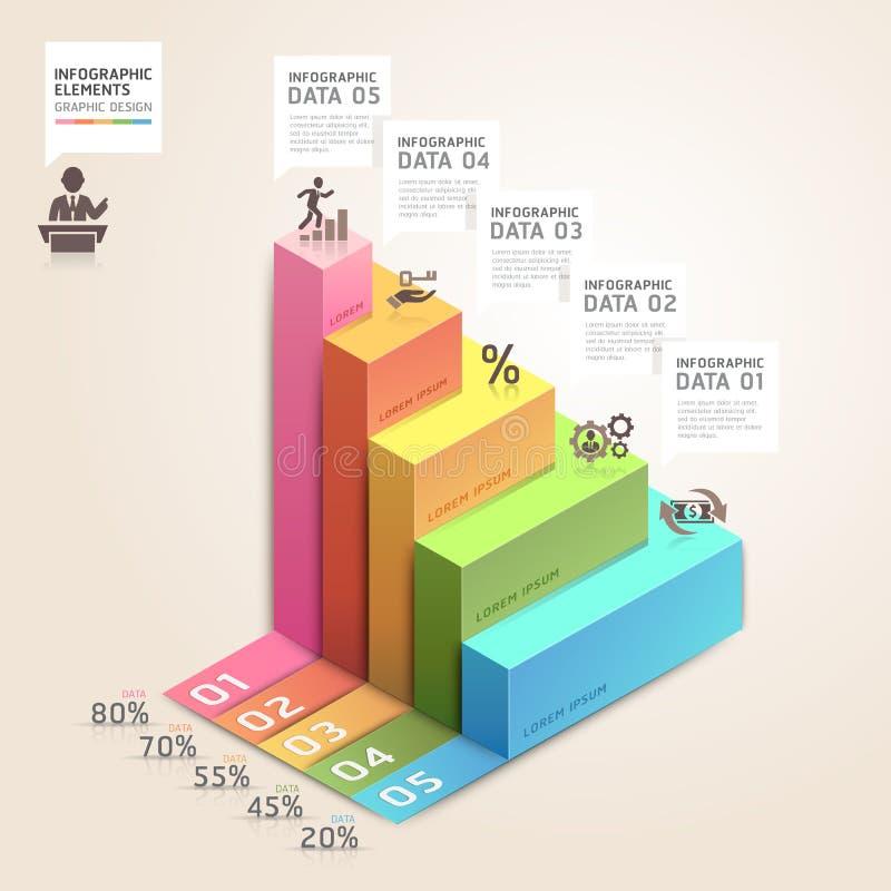 3d het diagram van de bedrijfs pijltrap stapopties. stock illustratie