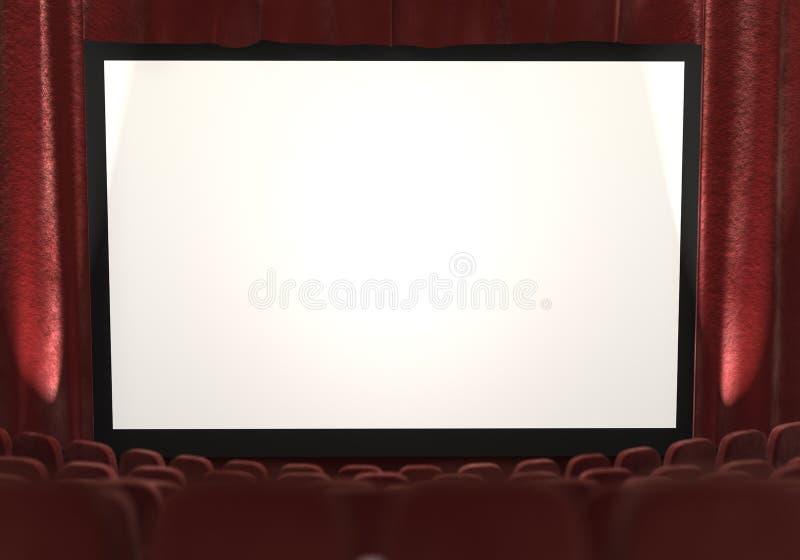 3d: Het filmscherm met Schijnwerpers aan Kant stock illustratie