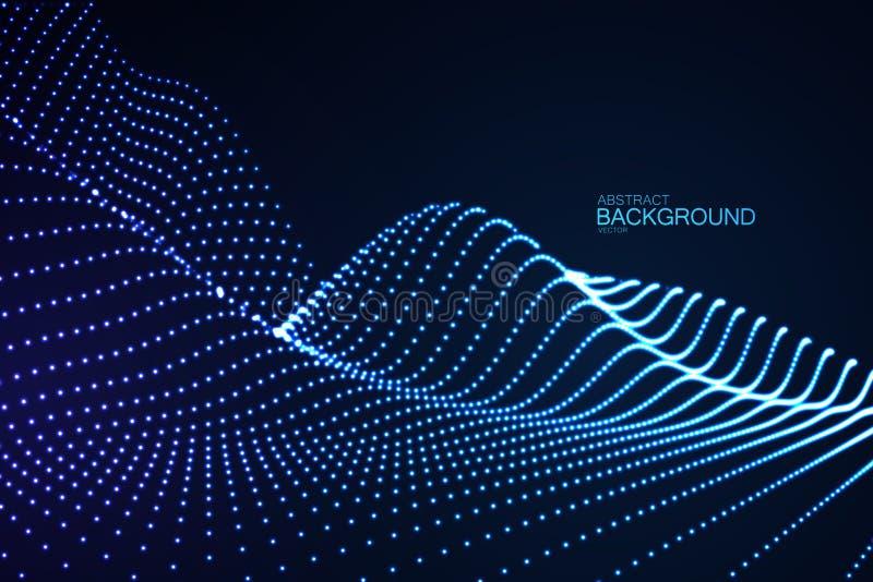 3D het gloeien neon digitale hulp van deeltjes stock illustratie