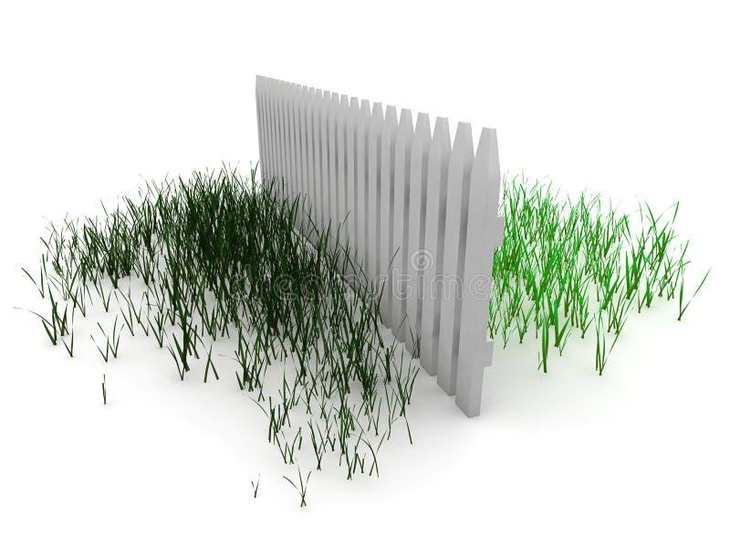 3d: Het gras is altijd Groener aan de andere kant van de Omheining royalty-vrije illustratie