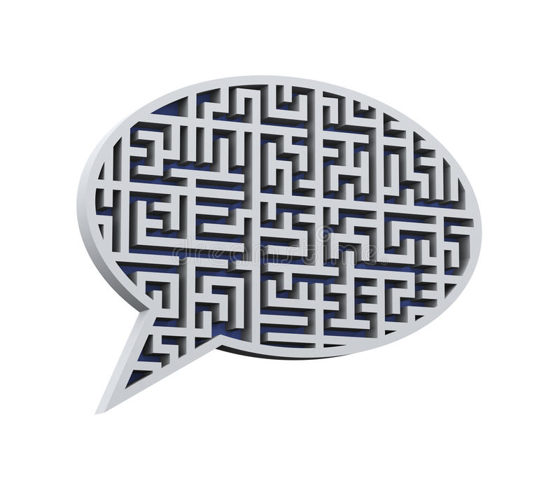 3d het labyrintlabyrint van de bellentoespraak vector illustratie