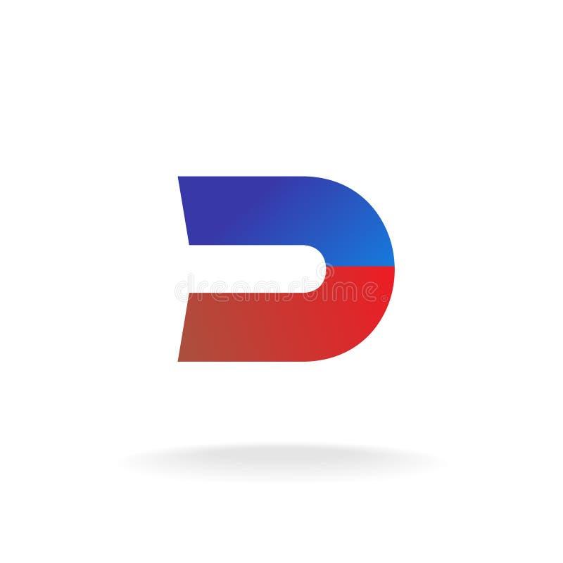 D het malplaatje van het brievenembleem Het concept van de blauwe en rode kleurenmagneet stock illustratie
