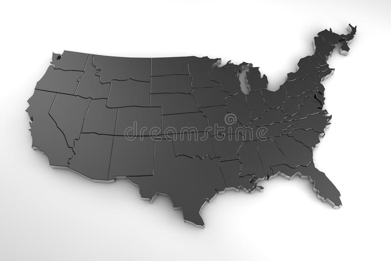 3d het metaalkaart van de Verenigde Staten van Amerika op wit wordt geïsoleerd dat royalty-vrije illustratie