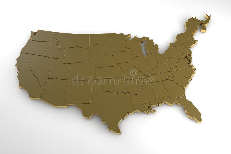 3d het metaalkaart van de Verenigde Staten van Amerika op wit wordt geïsoleerd dat vector illustratie