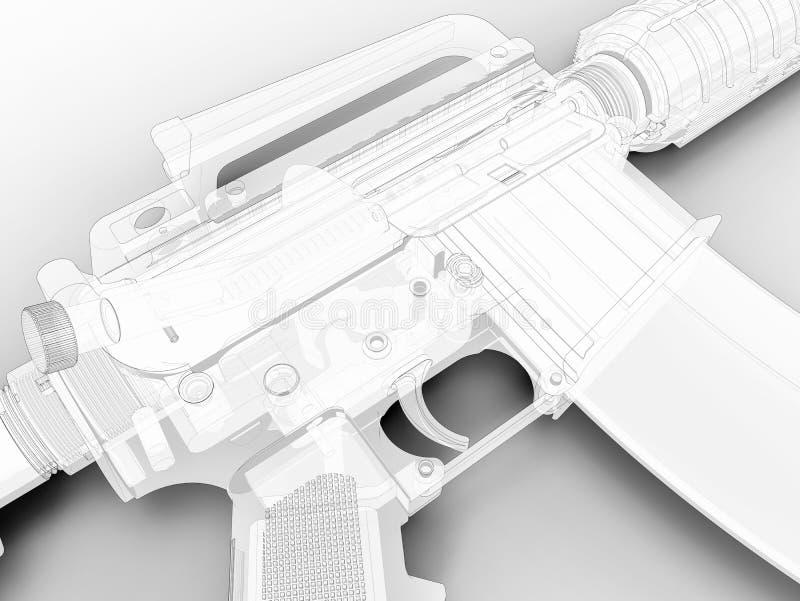 3D het overzichtsclose-up van het Aanvalsgeweer vector illustratie