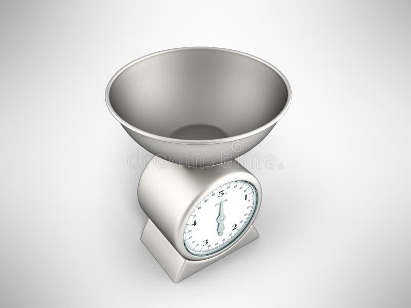 3d het perspectief van de keukenschaal geeft op grijze achtergrond terug royalty-vrije illustratie