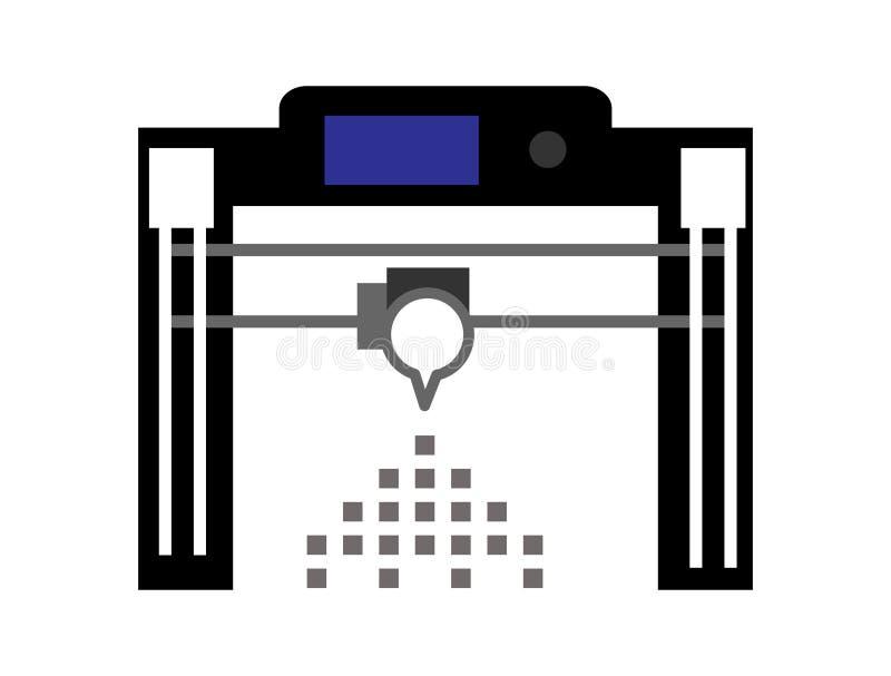 3D het pictogram van de printer vastgestelde vectorillustratie abstracte illustratie als achtergrond vector illustratie