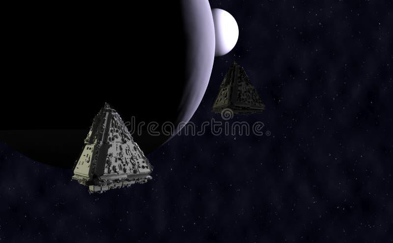 3d het ruimteschip geeft terug royalty-vrije illustratie