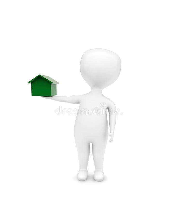 3d het stuk speelgoed van de mensenholding huis - huis in hand concept royalty-vrije illustratie