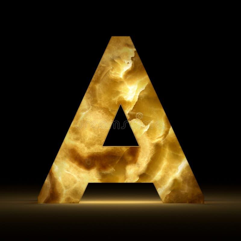 3D het teruggeven brief A van het steenonyx op zwarte achtergrond wordt geïsoleerd die Tekens en Symbolen Alfabet lichtgevende ha stock illustratie