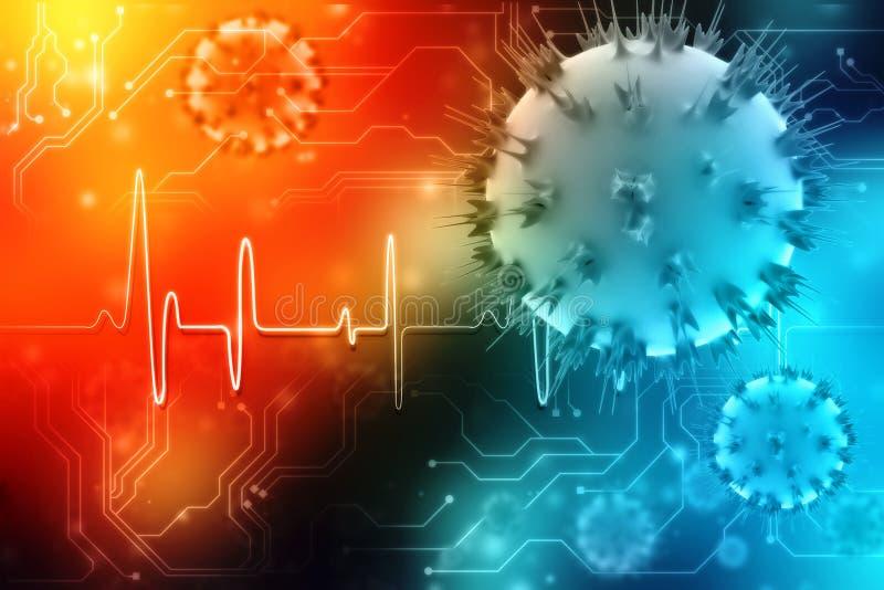 3d het teruggeven cellen van Virusbacteri?n op digitale achtergrond royalty-vrije illustratie