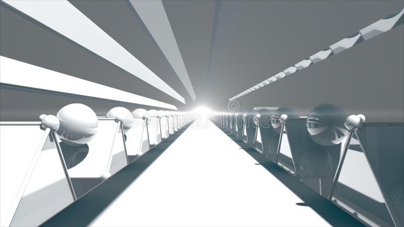 3d het teruggeven Futuristische wegtunnel Technologieachtergrond met licht aan het eind royalty-vrije illustratie