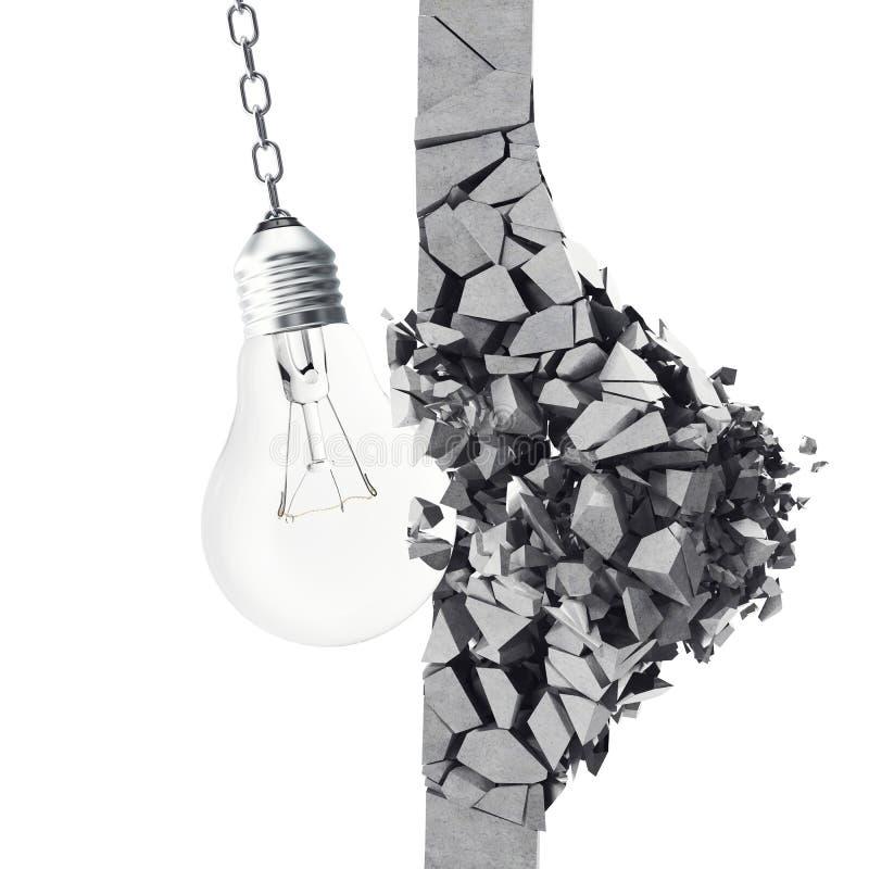3d het teruggeven gloeilamp, die muursmithereens, concept vernietigen het creatieve denken en innovatie stock illustratie