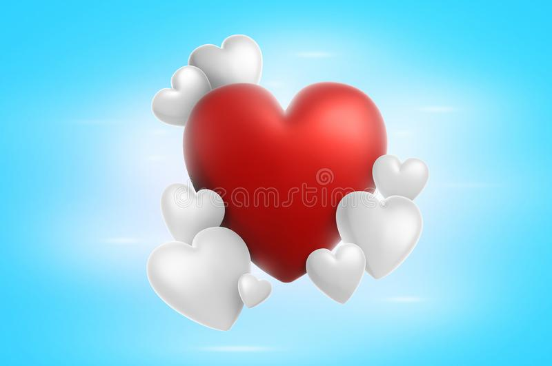 3d het teruggeven harten van de valentijnskaartendag op achtergrond royalty-vrije stock fotografie