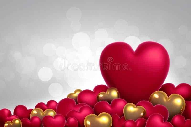 3d het teruggeven harten van de valentijnskaartendag op achtergrond royalty-vrije stock foto