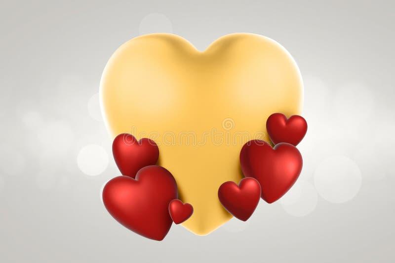 3d het teruggeven harten van de valentijnskaartendag op achtergrond stock foto's