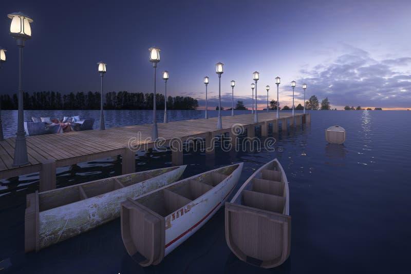 3d het teruggeven houten pijler dichtbij overzees met lamppost en boot in schemeringscène vector illustratie