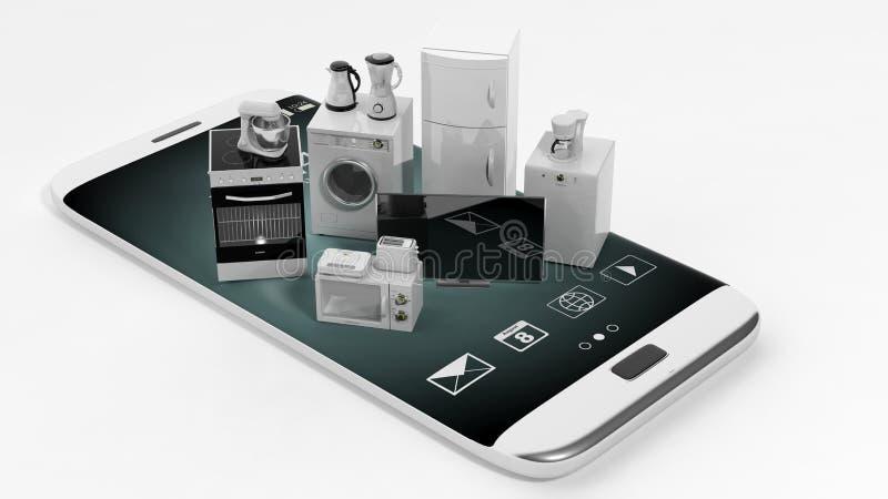3d het teruggeven huistoestellen op een slimme telefoon royalty-vrije illustratie