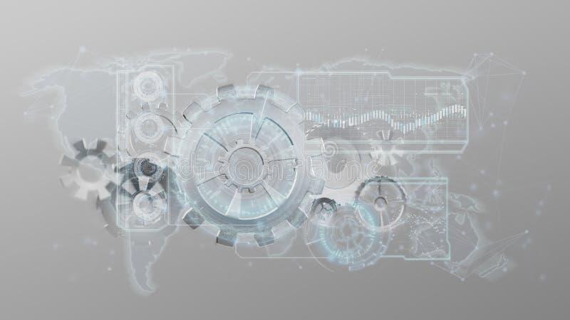 3d het teruggeven interface van het toestelwiel op een achtergrond wordt geïsoleerd die vector illustratie
