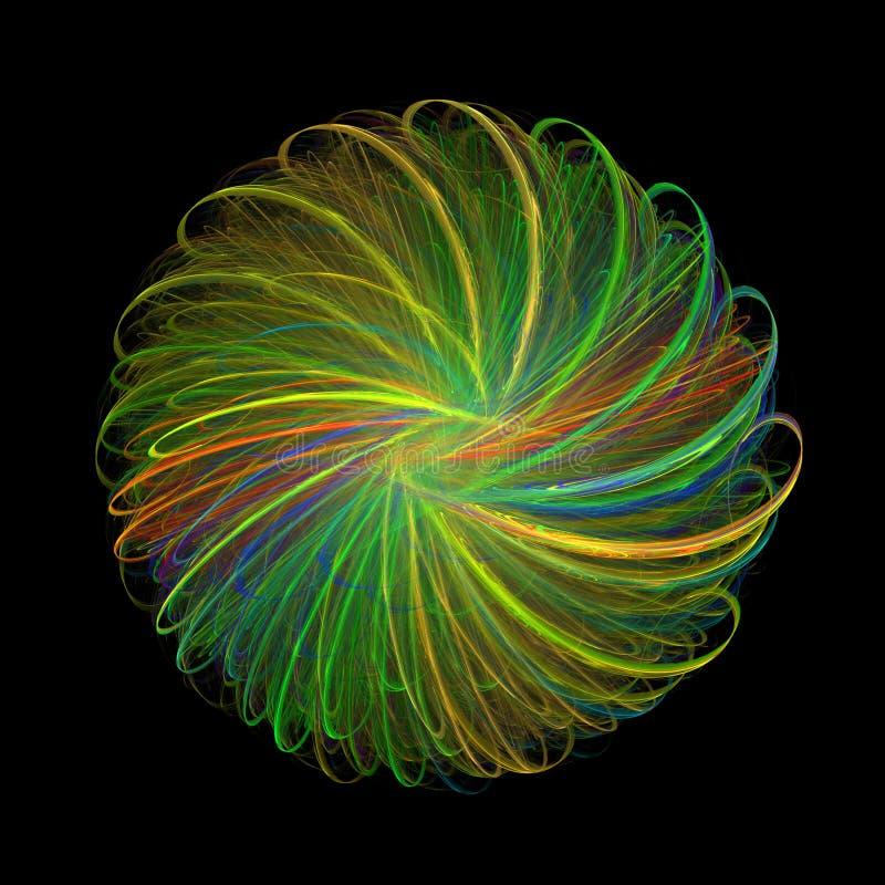 3D het teruggeven kleurrijke fractal samenvatting op zwarte achtergrond stock foto