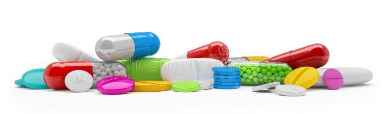 3d het teruggeven - kleurrijke tabletten, pillen, capsules - geneesmiddel vector illustratie