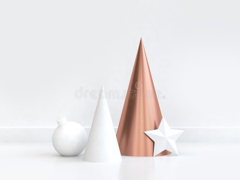 3d het teruggeven koperkegel geometrische Kerstmisbal van de vormster royalty-vrije illustratie
