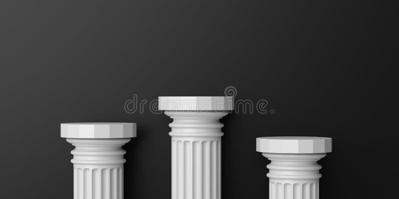 3d het teruggeven marmeren kolommenpodium vector illustratie