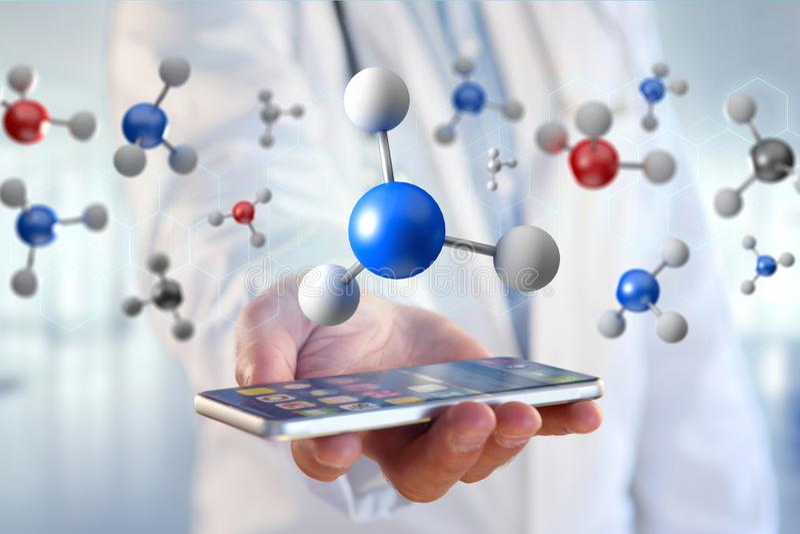 3d het teruggeven molecule op getoond op een medische interface royalty-vrije stock afbeeldingen