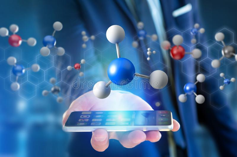 3d het teruggeven molecule op getoond op een medische interface stock foto