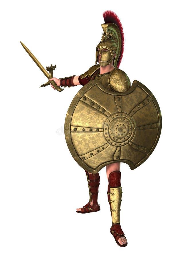 3D het Teruggeven Oude Griekse Militair op Wit vector illustratie