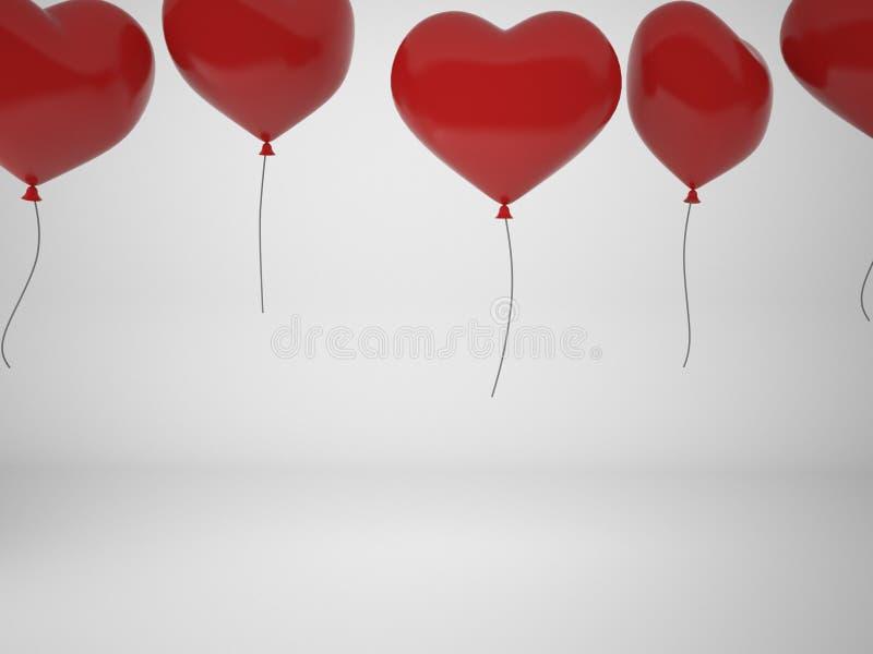 3D het teruggeven rode ballons in vorm van hart die op witte bedelaars wordt geïsoleerd stock illustratie